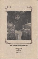 Alfred Lee Guidry, son of Pearl James Guidry and James Guidry